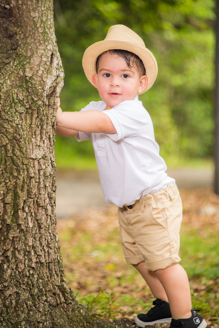 baby boy leaning on tree at park photo